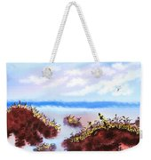 Walking On The Beach On A Rainy Day Weekender Tote Bag