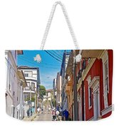Walking Up Steep Streets In Hilly Valparaiso-chile Weekender Tote Bag