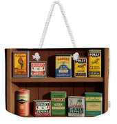 Wall Spice Rack - Americana Kitchen Art Decor - Vintage Spice Cans Tins - Nostalgic Spice Rack Weekender Tote Bag
