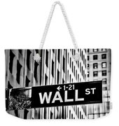 Wall St Sign New York In Black And White Weekender Tote Bag