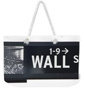 Wall Street Sign Close Up 1 Weekender Tote Bag