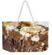 Walnut Brownie On A White Plate Weekender Tote Bag