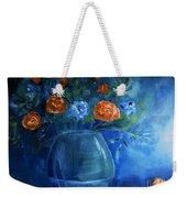 Warm Blue Floral Embrace Painting Weekender Tote Bag