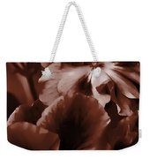 Warm Tone Monochrome Floral Art Weekender Tote Bag