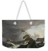 Warships In A Heavy Storm Weekender Tote Bag