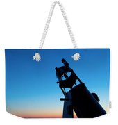 Watchnig The Sky, Astronomy Telescope Against Evening Sky And Moon Weekender Tote Bag