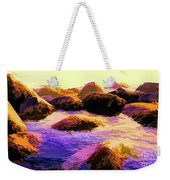 Water Color Like Rocks In Ocean At Sunset Weekender Tote Bag