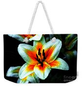 Water Droplet Covered White Lily  Weekender Tote Bag
