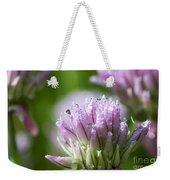 Water Droplets On Chives Flowers Weekender Tote Bag