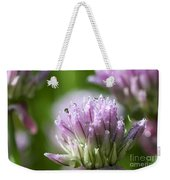Water Droplets On Chives Flowers Weekender Tote Bag