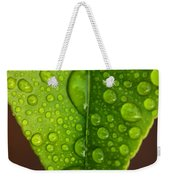 Water Droplets On Lemon Leaf Weekender Tote Bag