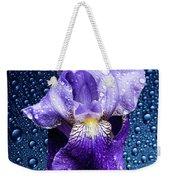 Water Drops On Purple Iris Weekender Tote Bag