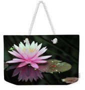 water lily 92 Sunny Pink Water Lily with Lily Pad Weekender Tote Bag