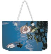 Water Lily Leaves And Reflection Of Clouds In Unknown Lake Weekender Tote Bag