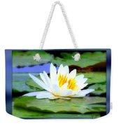 Water Lily With Blue Border - Digital Painting Weekender Tote Bag