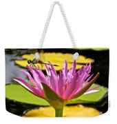 Water Lily With Dragonfly Weekender Tote Bag