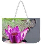 Water Lily With Rain Drops Weekender Tote Bag