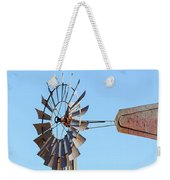 Water Pump Windmill On Blue Sky Background Weekender Tote Bag