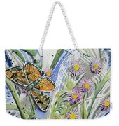 Watercolor - Checkerspot Butterfly With Wildflowers Weekender Tote Bag by Cascade Colors