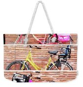 Watercolor Collage Of Three Bicycles In Triptych Weekender Tote Bag