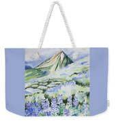 Watercolor - Crested Butte Lupine Landscape Weekender Tote Bag by Cascade Colors