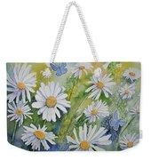 Watercolor - Daisies And Common Blue Butterflies Weekender Tote Bag
