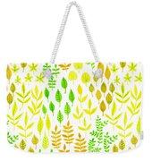 Watercolor Doodle Leaves Pattern White  Weekender Tote Bag