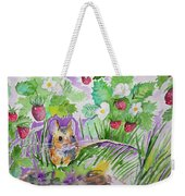 Watercolor - Field Mouse With Wild Strawberries Weekender Tote Bag