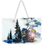 Watercolor Forest And Pond Weekender Tote Bag