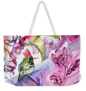 Watercolor - Frilled Coquette Hummingbird With Colorful Background Weekender Tote Bag