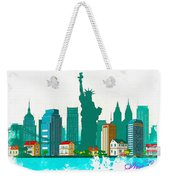 Watercolor Illustration Of New York Weekender Tote Bag