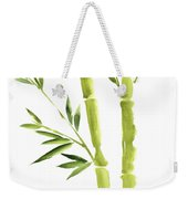Bamboo Stick Wall Paper Art, Watercolor Living Room Decor Illustration, Green Bamboo Leaves Painting Weekender Tote Bag