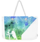Watercolor Map Of Manitoba, Canada In Blue And Green  Weekender Tote Bag