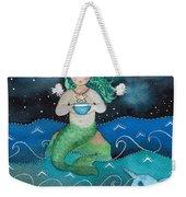 Watercolor Mermaid Feeding Her Narwhals Weekender Tote Bag