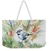 Watercolor - Mountain Chickadee And Pine Weekender Tote Bag