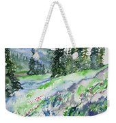 Watercolor - Mountain Pines And Indian Paintbrush Weekender Tote Bag