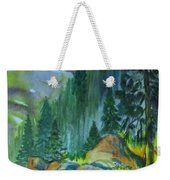 Watercolor Of Mountain Forest Weekender Tote Bag