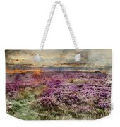 Watercolor Painting Of Beautiful Dawn Sunrise Landscape Image Of Heather On Higger Tor In Summer In  Weekender Tote Bag