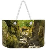 Watercolor Painting Of Beautiful Ethereal Landscape Of Deep Sided Gorge With Rock Walls And Stream F Weekender Tote Bag
