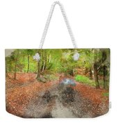 Watercolor Painting Of Beautiful Landscape Image Of Forest Covered In Autumn Fall Color Contrasting  Weekender Tote Bag