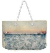 Watercolor Painting Of Beautiful Seascape Image Of Calm Ocean At Sunset Weekender Tote Bag