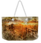 Watercolor Painting Of Beautiful Sunrise Landscape Over Foggy English Countryside With Glowing Sun Weekender Tote Bag