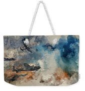 Watercolor Painting Of Flight Formation Of Battle Of Britain World War Two Consisting Of Lancaster B Weekender Tote Bag