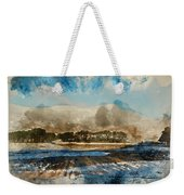 Watercolor Painting Of Fresh Winter Landscape Of Mountain Range And Forest Covered In Snow Weekender Tote Bag