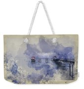 Watercolor Painting Of Landscape Of Victorian Pier With Moody Sk Weekender Tote Bag