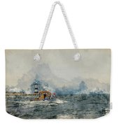 Watercolor Painting Of Pleasure Cruise Boat On Menai Straits In Anglesey Wales. Weekender Tote Bag