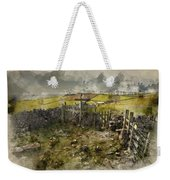Watercolor Painting Of Public Footpath Signposts In Landscape In Weekender Tote Bag