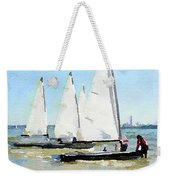 Watercolor Painting Of Small Dinghy Boats Weekender Tote Bag