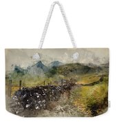 Watercolor Painting Of Stunning Landscape Of Chrome Hill And Parkhouse Hill Dragon's Back In Peak Di Weekender Tote Bag