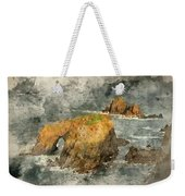 Watercolor Painting Of Stunning Sunrise Landscape Of Land's End In Cornwall England Weekender Tote Bag